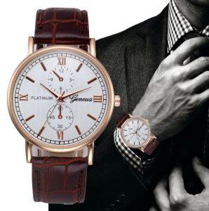 Круглые часы с кожаным ремешком